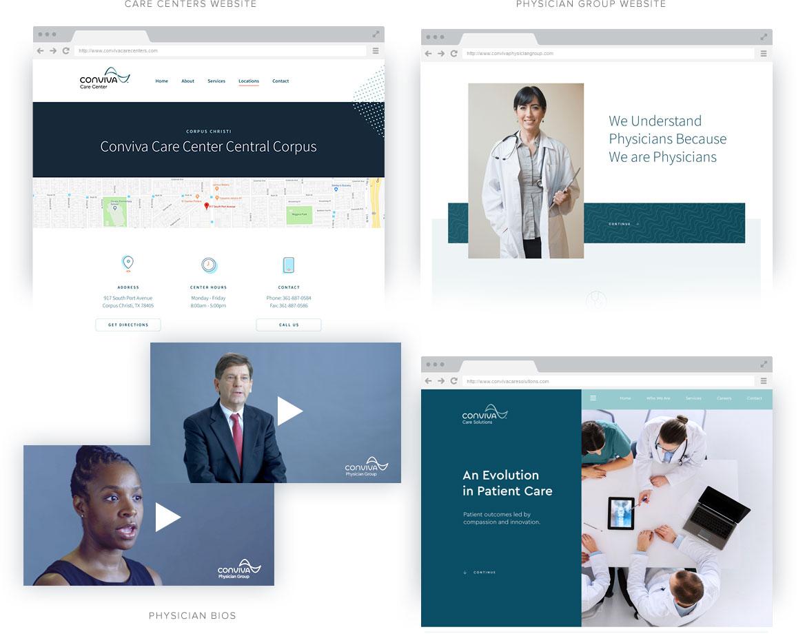 montage of screen shots for digital Conviva presence