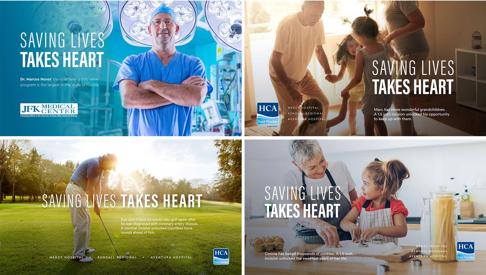 HCA East Florida montage of advertisement campaigns